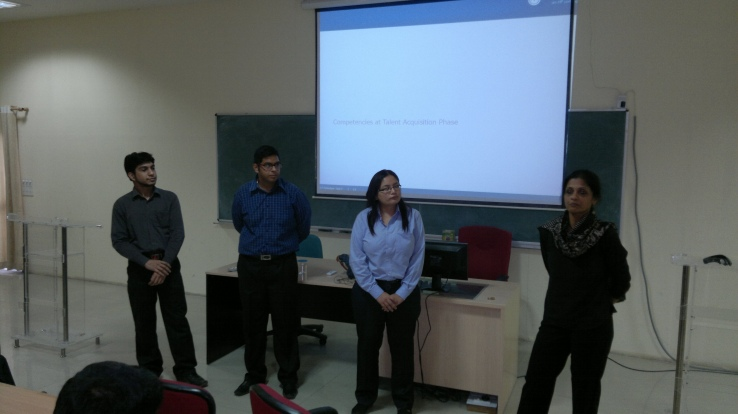 Students attempting the Elevator pitch during the session