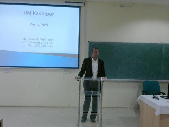 Mr. Shouvik Mukherjee addressing students of IIM Kashipur